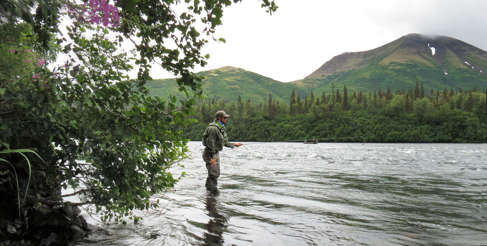 Fly fishing the Alaskan backcountry. Bryan Huskey photo via Bristol Bay Lodge.