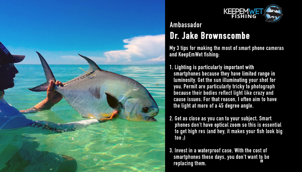 Captain Rob Kramarz holding a Permit in the Florida Keys. This fish was caught as part of a Bonefish and Tarpon Trust tracking study led by Jake Brownscombe aimed at understand habitat connectivity in the region. The visible dart tag is used for individual identification in case of recapture, while an internally implanted acoustic tag transmits a unique signal that is used for spatial tracking.    Photo by Dr. Jake Brownscombe, KWF Science Ambassador.