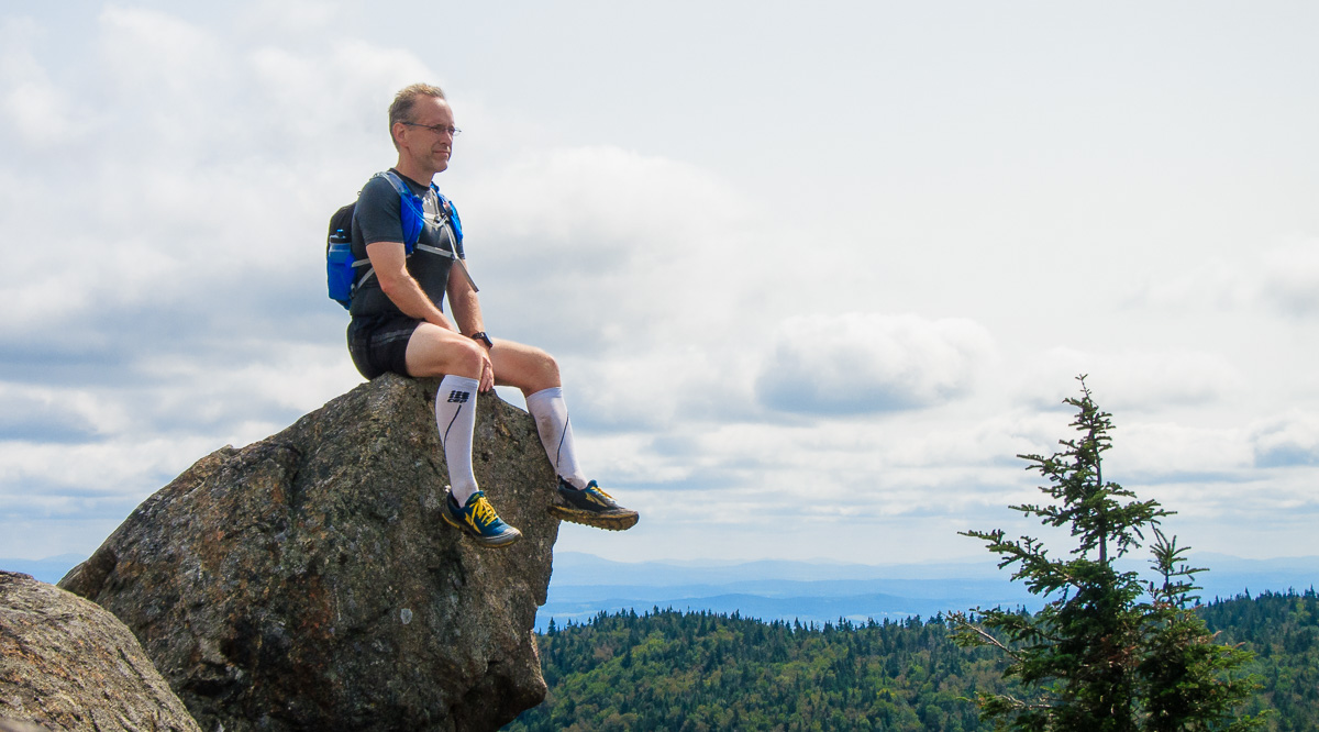 Taking a break while trail running in Mont Orford National Park, QC, Canada