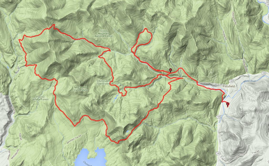 Trajet du Peak Ultra 2016 - 30 Miles