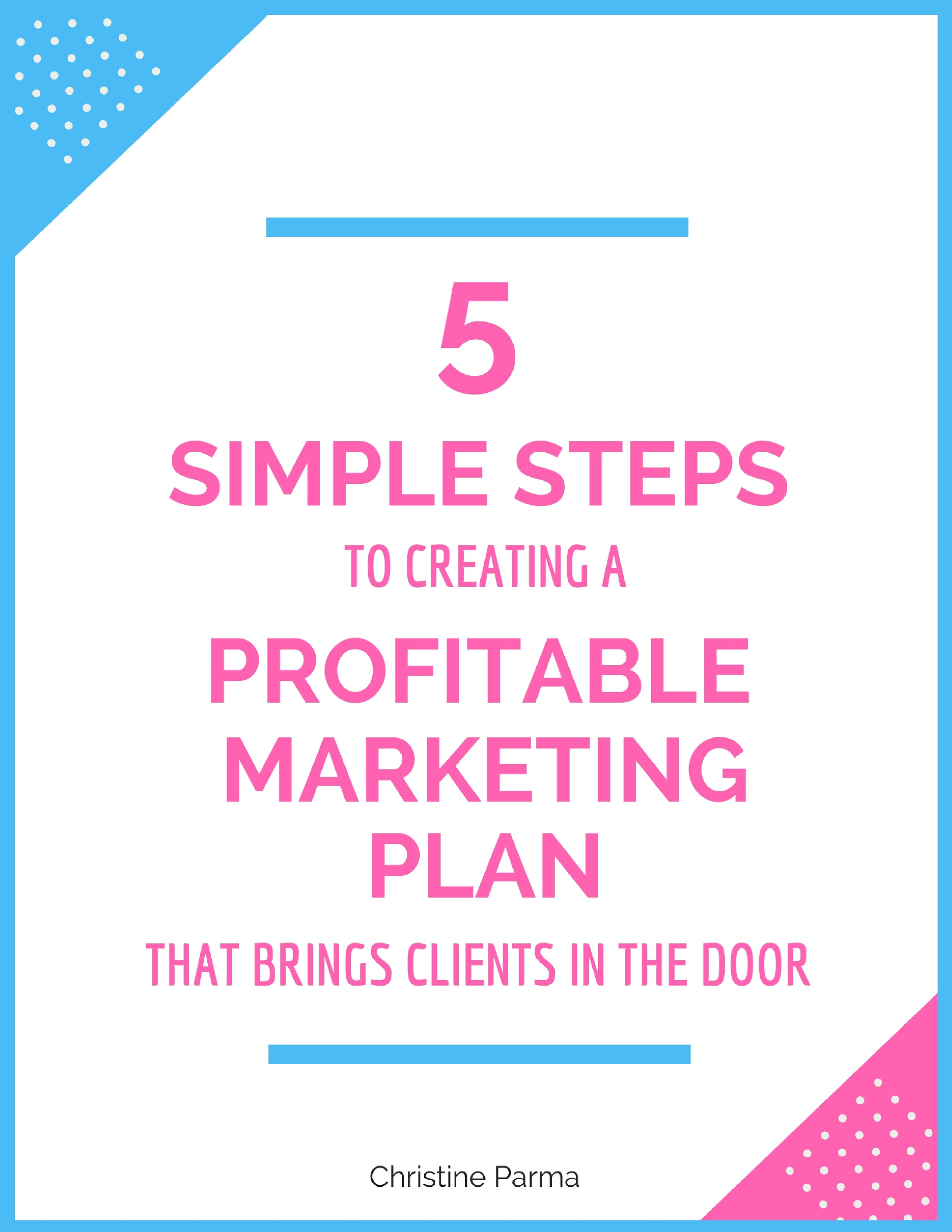 The 5 Simple Steps to Creating a Profitable Marketing Plan that Brings Clients in the Door >  Get instant access now!