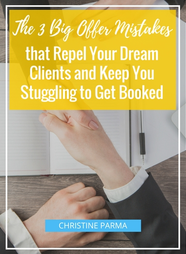 """Getting clients. Making sales. It's the cornerstone to making any business work.  Yet so many businesses are getting the key piece to doing this totally wrong. Or they're doing it poorly but don't recognize what's causing them to struggle to bring in new clients.  What's this key missing piece? A compelling offer (aka, your messaging) that grabs your dream clients by their eyeballs.  Whether you're making your offer in person, over the phone or via your website, there are three big offer mistakes that cause dream clients to click away, say """"no"""" or run screaming in the other direction (or all three). If you're having problems booking clients or selling your products, the first thing you should look at is how you're communicating your offer.  In this article, you will learn what to focus on in your sales conversation so that your clients will be encouraged to sign up to your program, how to connect with what your clients need from you, and finally, how to communicate with your clients so they'll be more than willing to pay for your services, even at higher fees.  http://christineparma.com/blog/3-Big-Offer-Mistakes  #entrepreneur #entrepreneurship #mompreneur #womeninbusiness #startup #business #marketing #sales #greatness #success #femaleentrepreneur #mindset"""