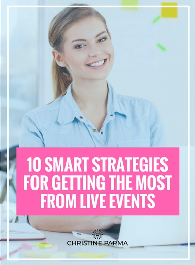 Before you head out to your next seminar, workshop or retreat, you'll want to use the strategies below to help you maximize the results you get while you're there. Based on my insights from over a decade of being on both sides of the live event fence as both an attendee and producer of live events, here are my 10 Smart Strategies for Getting the Most from Live Events.   http://christineparma.com/blog/getting-the-most-from-live-events   #liveevents #productivity #tools #business #entrepreneur #success #smallbusiness