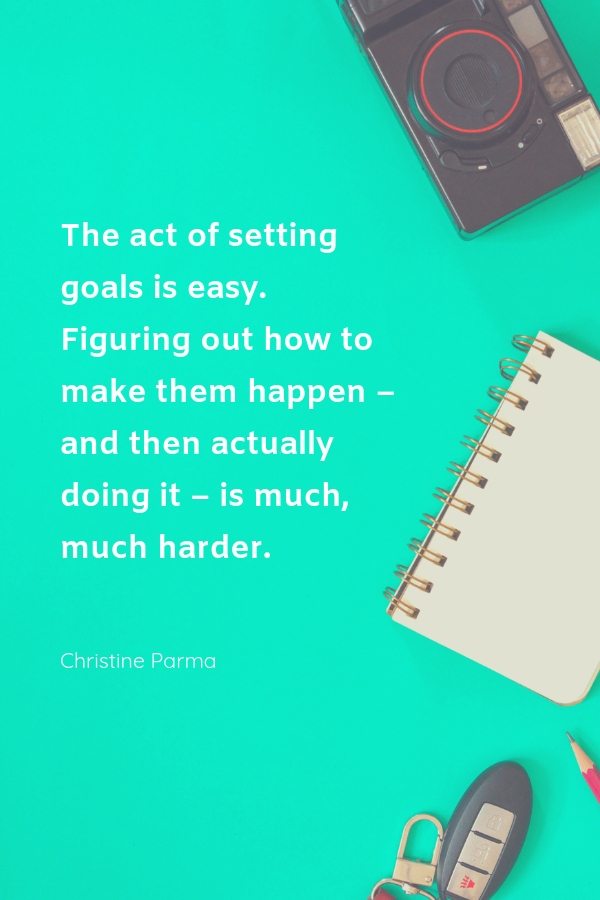 The act of setting goals is easy. Figuring out how to make them happen –  and then actually doing it  – is much, much harder. #motivationalquotes #inspiration #quotes #onlinebusiness #goalsetting
