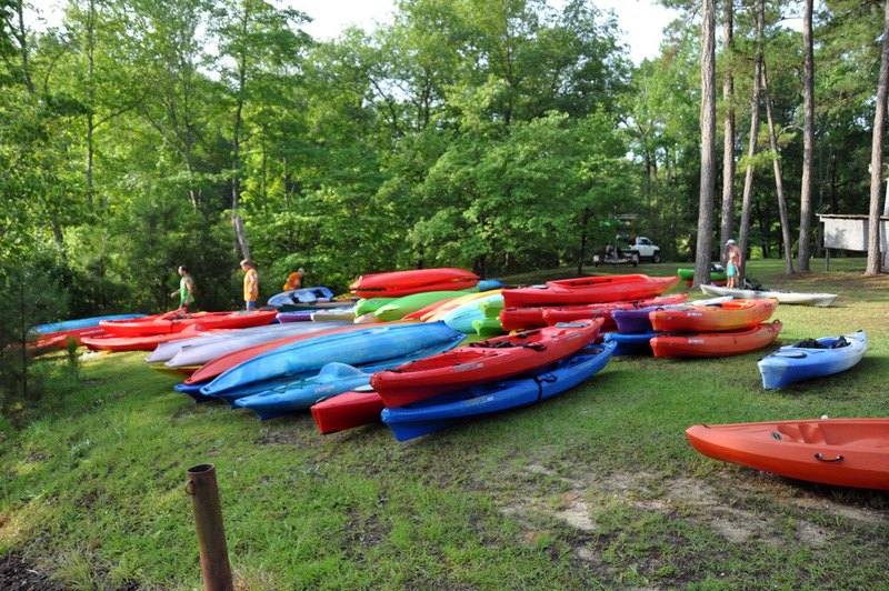 Boats laid out waiting for the 150 paddlers to come through.