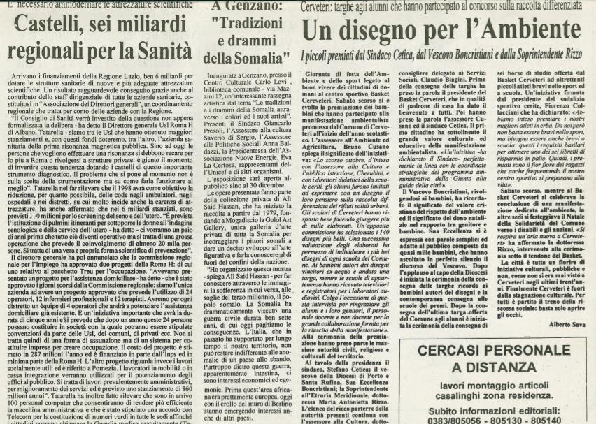 Genzano 1997 (Italy) Jornaladda waxay ka qoreen haulaha u Ali Said Hassan soo Bandhigay