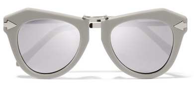 KAREN WALKER One Orbit round-frame acetate and silver-plated mirrored sunglasses, £195