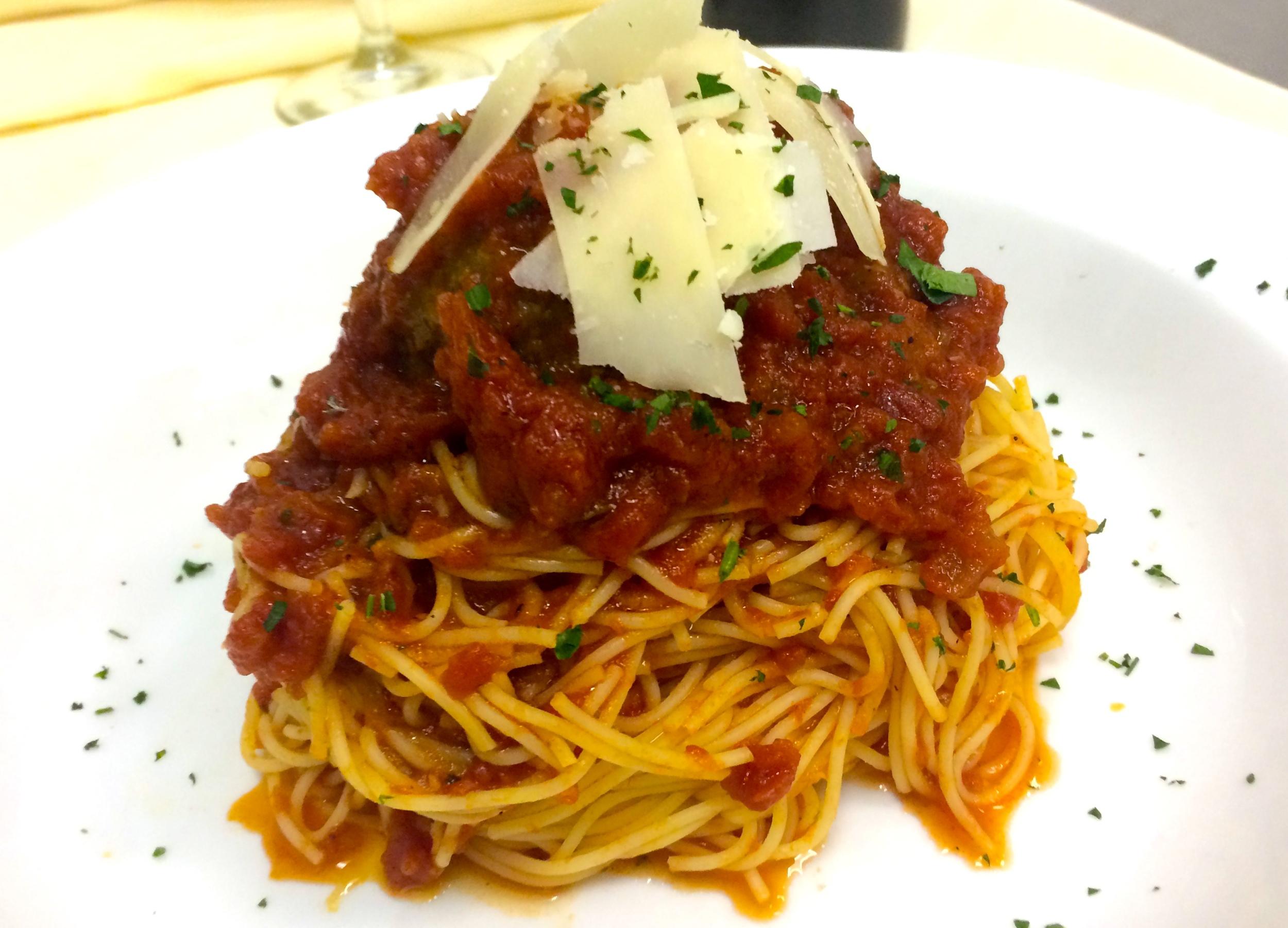 Homemade Meatball Over Spaghetti