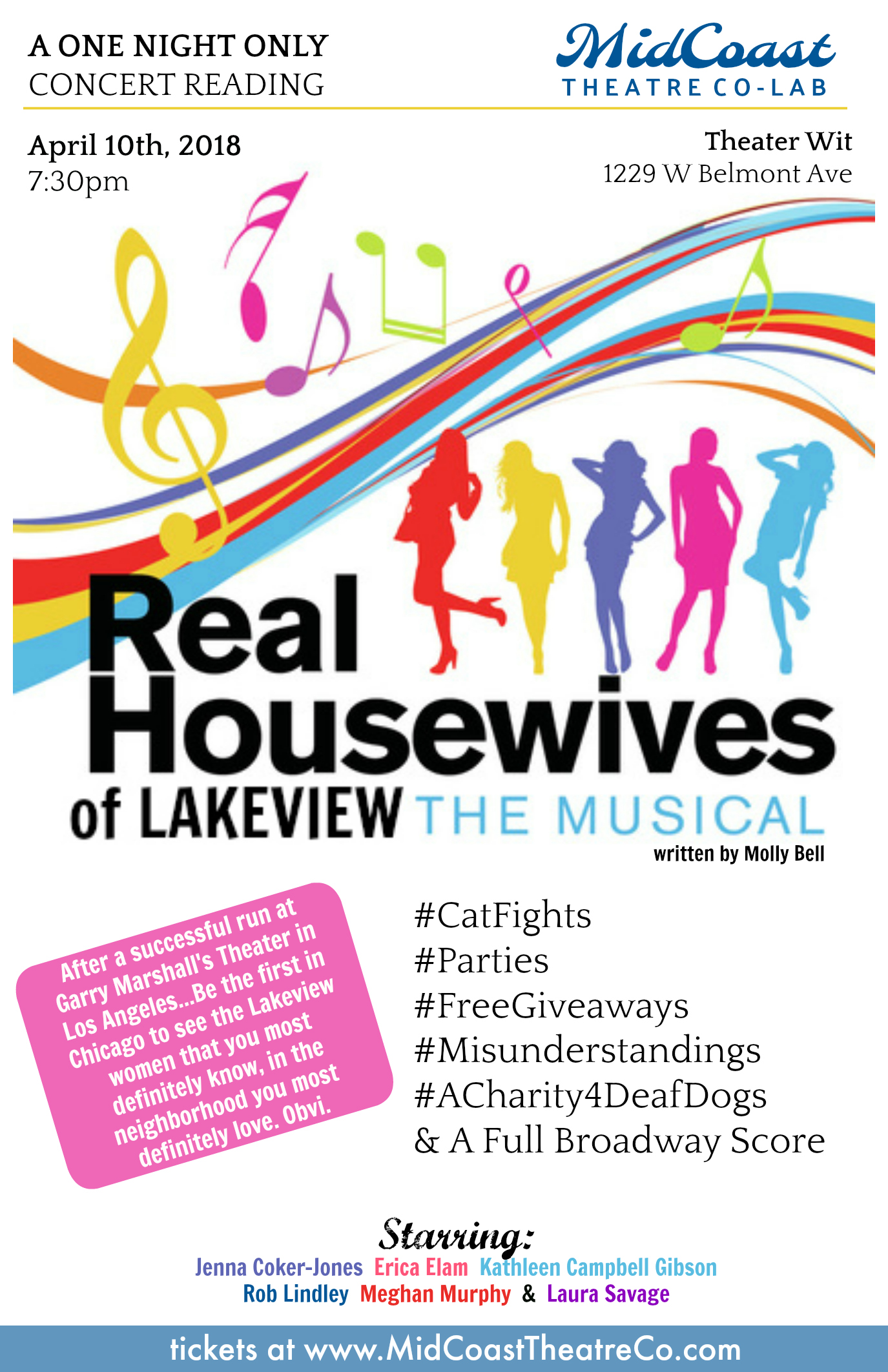 MidCoast Theatre Co-Lab @ Theater WitApril 10th, 2018 - Jenna (Artistic Director of MidCoast...) is bringing the REAL HOUSEWIVES Musical she did in Los Angeles to CHICAGO's LAKEVIEW Neighborhood for a ONE NIGHT ONLY Concert at Theater Wit in the Belmont Theater District.Jenna* will reprise her role as Penny Quinoa St Simone & Directing a badass group of Chicago Actors including Rob Lindley*, Erica Elam*, Kathleen Campbell Gibson*, Christina Hall*, Laura Savage* & your host Sawyer Smith*.*Members of Actor's Equity Association