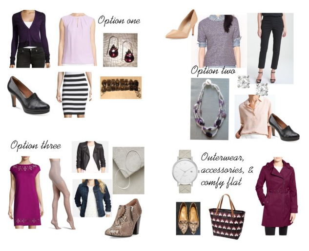 Option one: Purple blouse can be tucked into the striped skirt. Option two: Peach blouse goes under the tweed tee. The blouse sleeves can be rolled to expose the watch. Option three: Tights are optional and either jacket will look great!