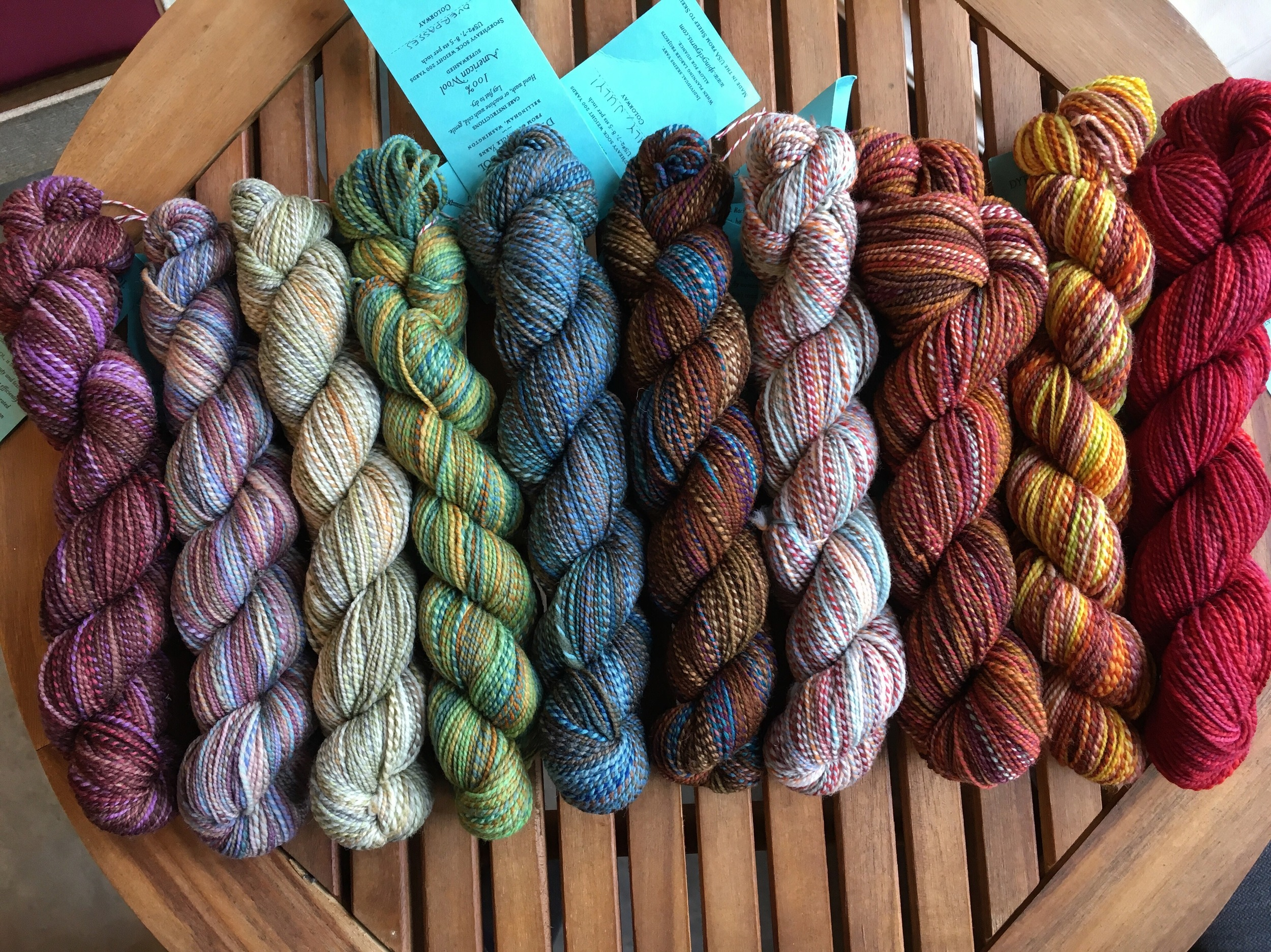 Sweet little skeins of Dyed in the Wool by Spincycle Yarns. Can you choose a favorite?