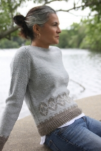 Between color and fiber, the yarn was just perfect for a soft pullover with a delicate, feminine vibe to wear with a tank or tee underneath when there's a little chill in the air.   Download from Ravelry Here
