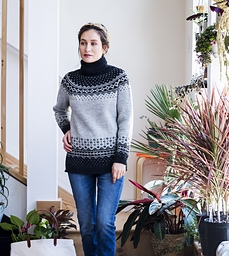 Rainier is worked in the round from the bottom up. The sleeves cuffs and hem begin with a long tail tubular cast on, and then a 1-by-1 ribbing is worked. Colorwork adorns the bottom of the sleeves and sweater body.   Download from Ravelry Here