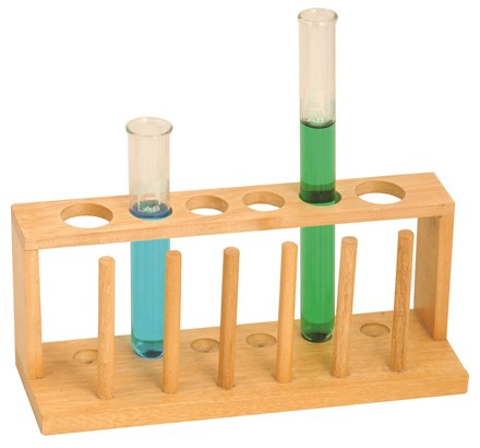 TEST TUBE HOLDER - WOODEN - · Wooden, polished stand with drilled holes· 25mm holes & pegs; Fits 6 test tubesPrice: $15.00