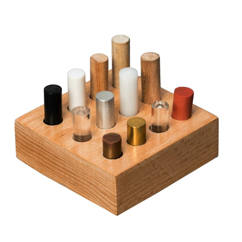 DENSITY RODS SET - DIFFERENT MATERIAL - Code: AR1010230Density Rods Set, Comprising 12 cylinders of different material and of different lengths (38mm-60mm) but of same diameter 12.5mm.All density rods are placed in a square shaped wooden block. Copper Rod, Brass Rod, Acetyl Rod, Rubber Rod, Acrylic Rod, Aluminum Rod, Polypropylene Rod, PVC Rod, Nylon Rod, Oak Rod, Maple Rod, Walnut Rod.PRE-ORDER OF THESE ITEMS IS NOW AVAILABLE UNTIL 30TH SEPTEMBER. EXPECTED ARRIVAL LATE JANUARY 2020.Price: $48.85