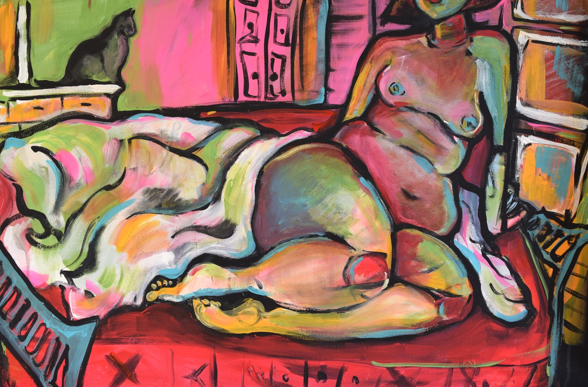 "Sitting Nude with Storm / Acrylic on Canvas / 24 x 36""  / April 2015"