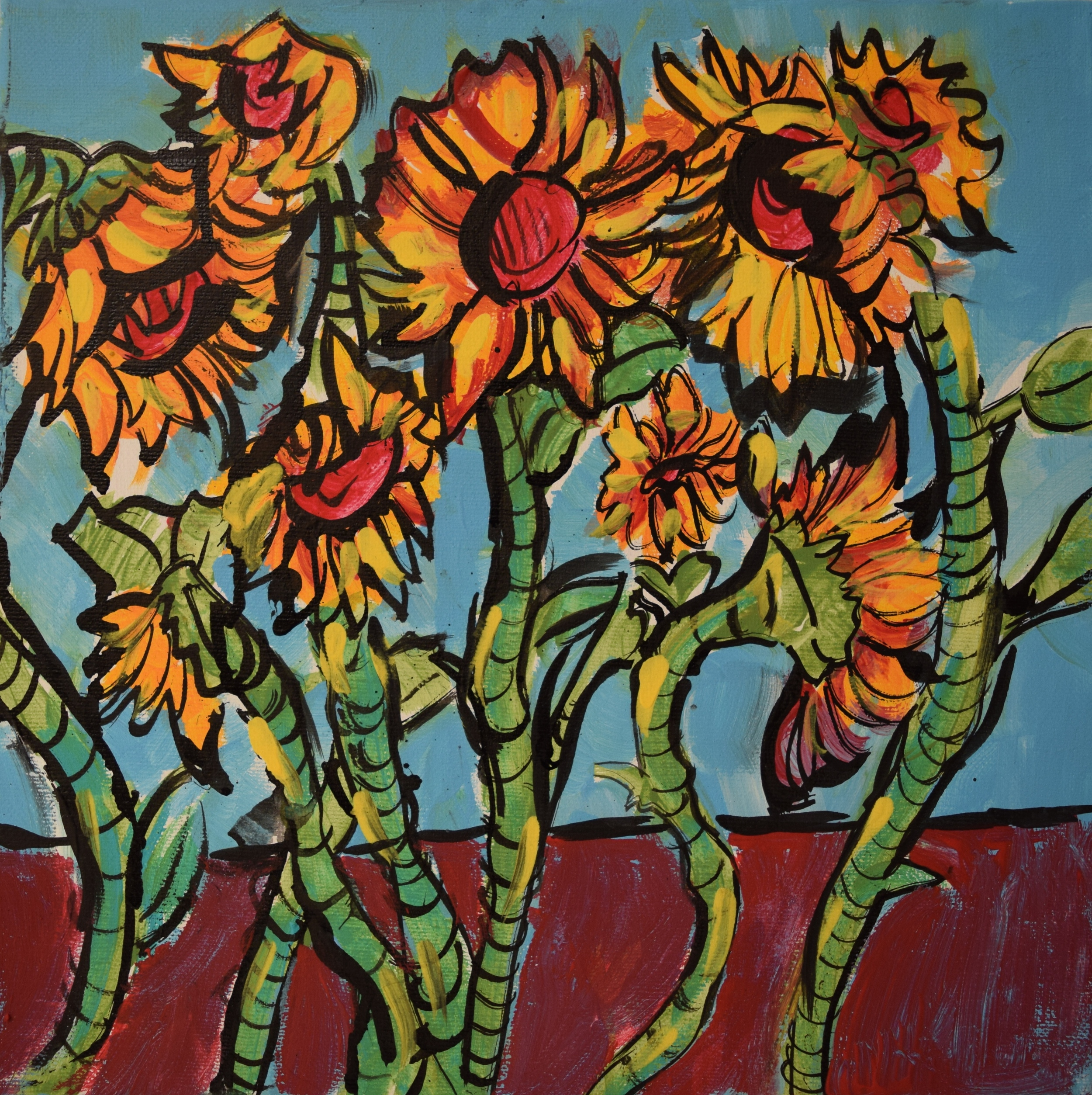 "Sunflowers/ Acrylic on Canvas/ 12x12""/ June 2015/ (SOLD)"