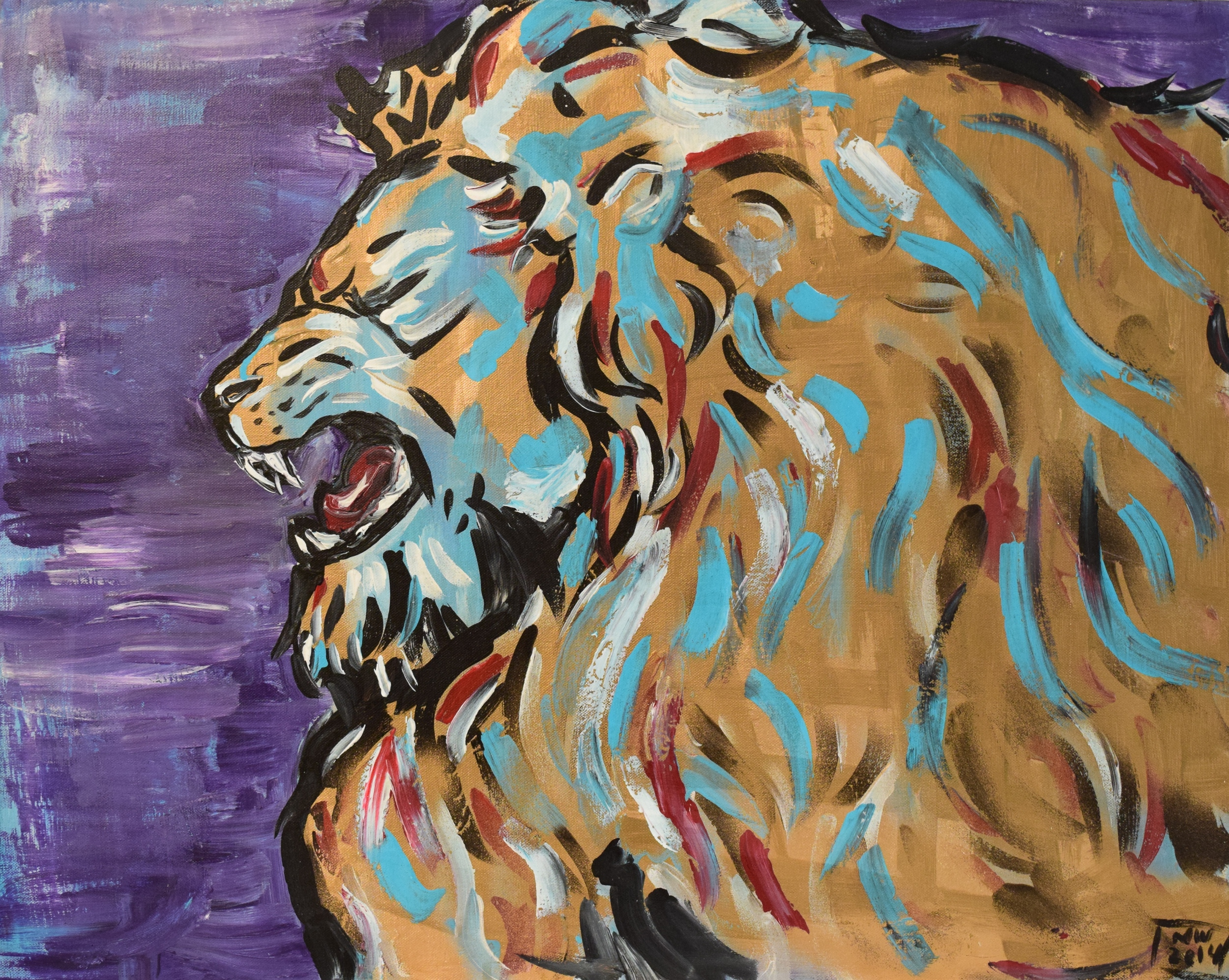 "Lion/ Acrylic on Canvas/ 24 x30""/ May 2014"