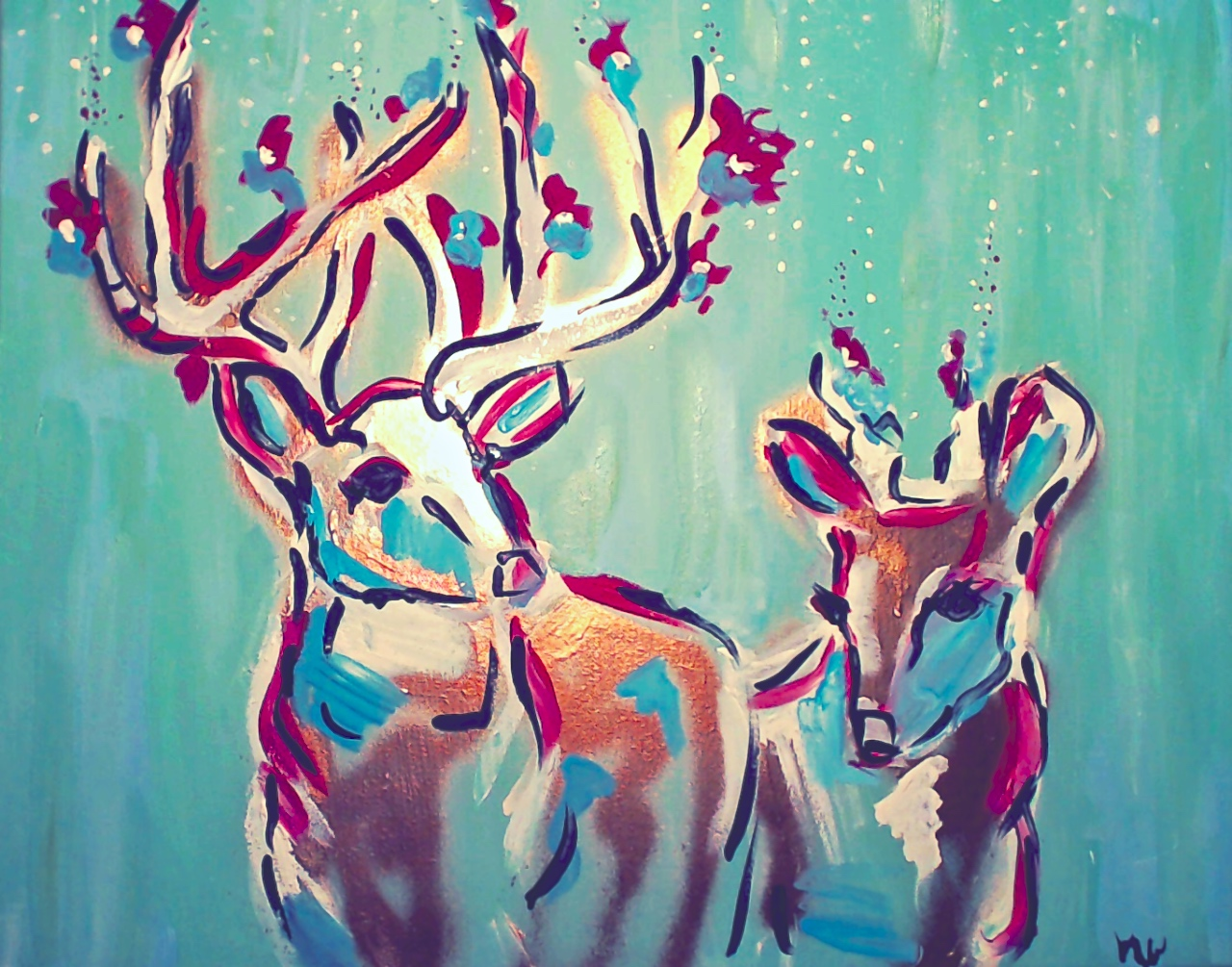 "Deer Wedding/ Acrylic and Spray Paint on Canvas/ 24x 30""/ December 2014/ (SOLD)"