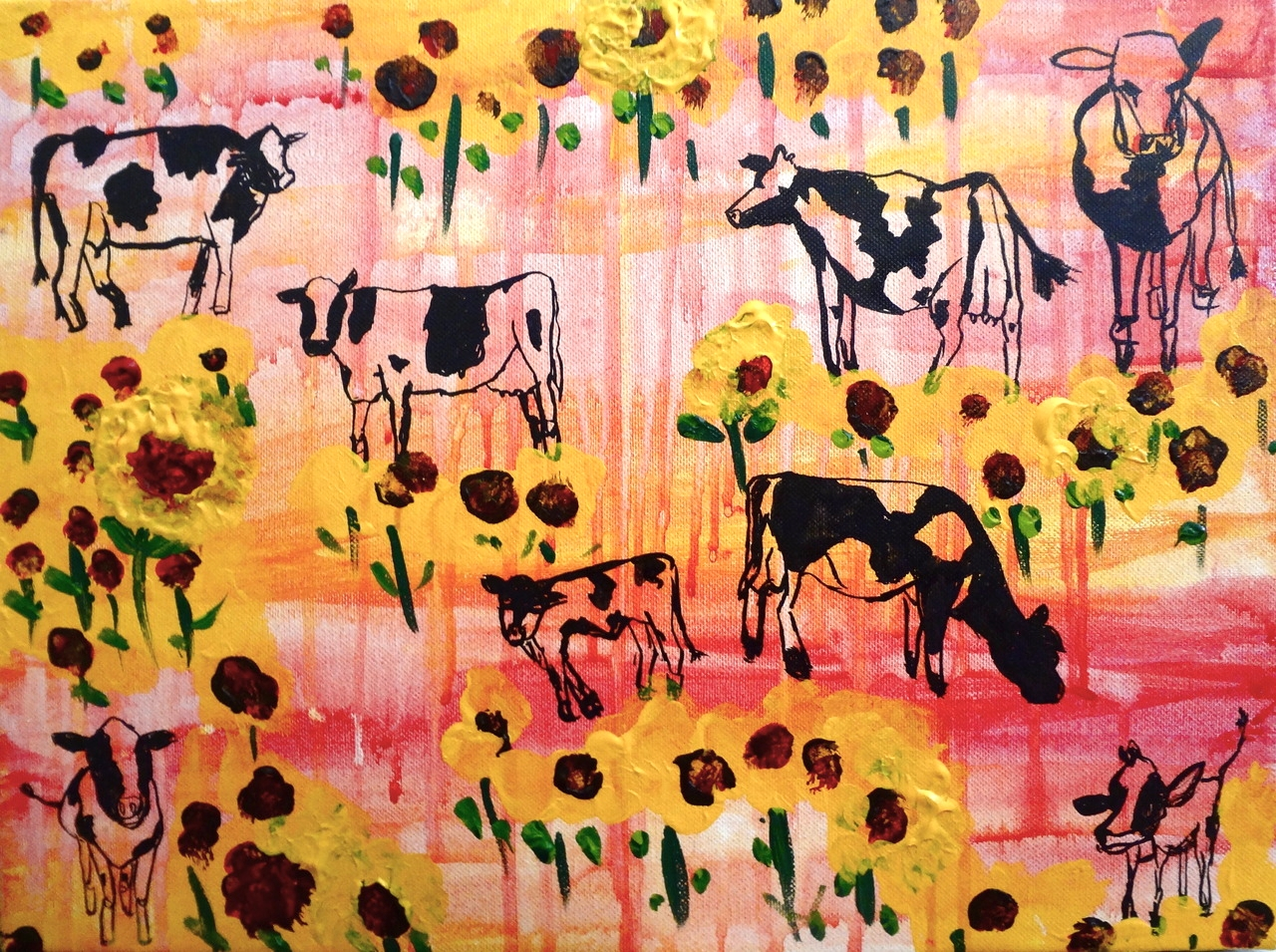"Cows and Sunflowers in Israel/ Mixed Media on Canvas/ 12x20""/July 2012 (SOLD)"