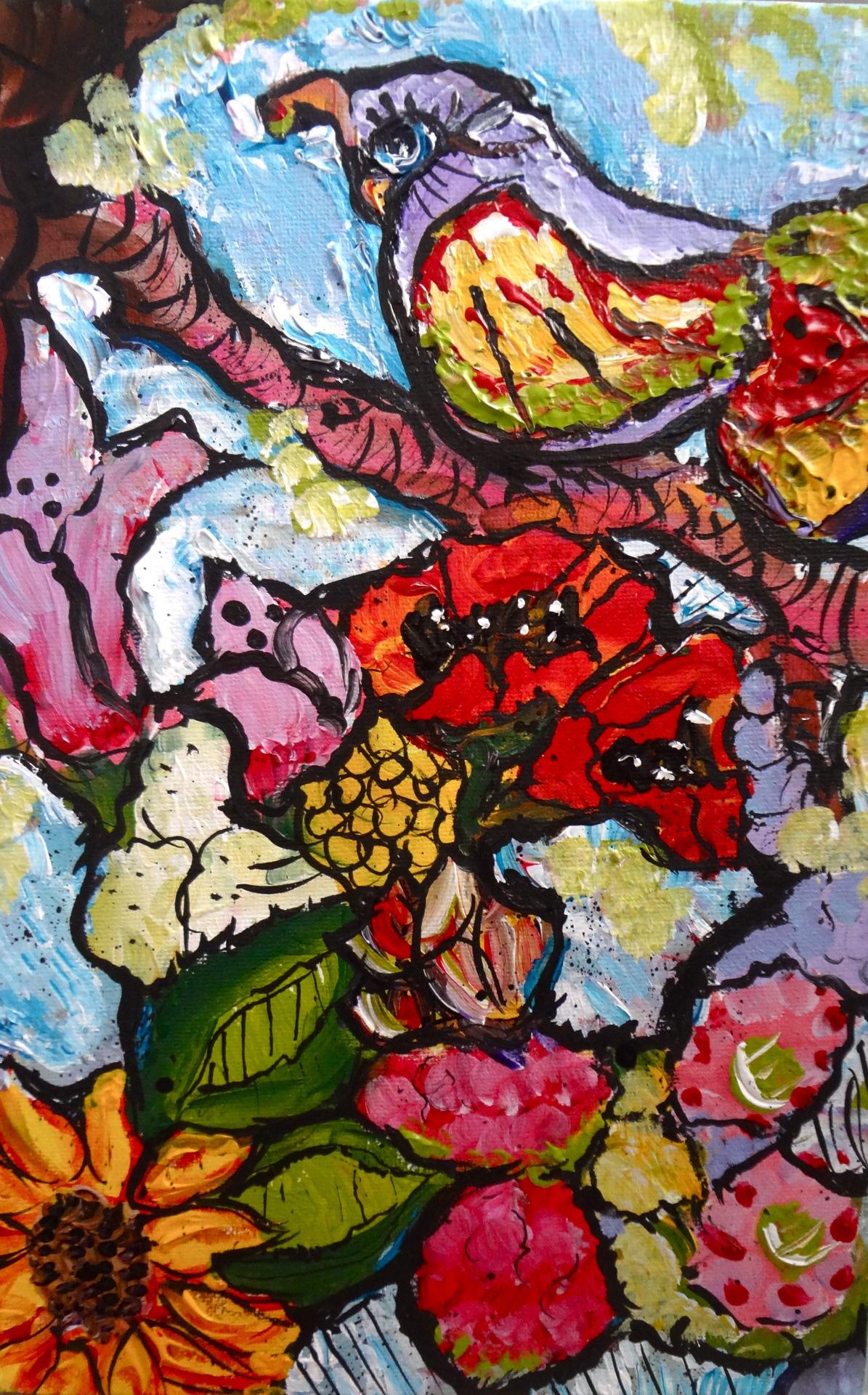 "Bird on a Branch/ Acrylic on Canvas/9x12""/ July 2012"