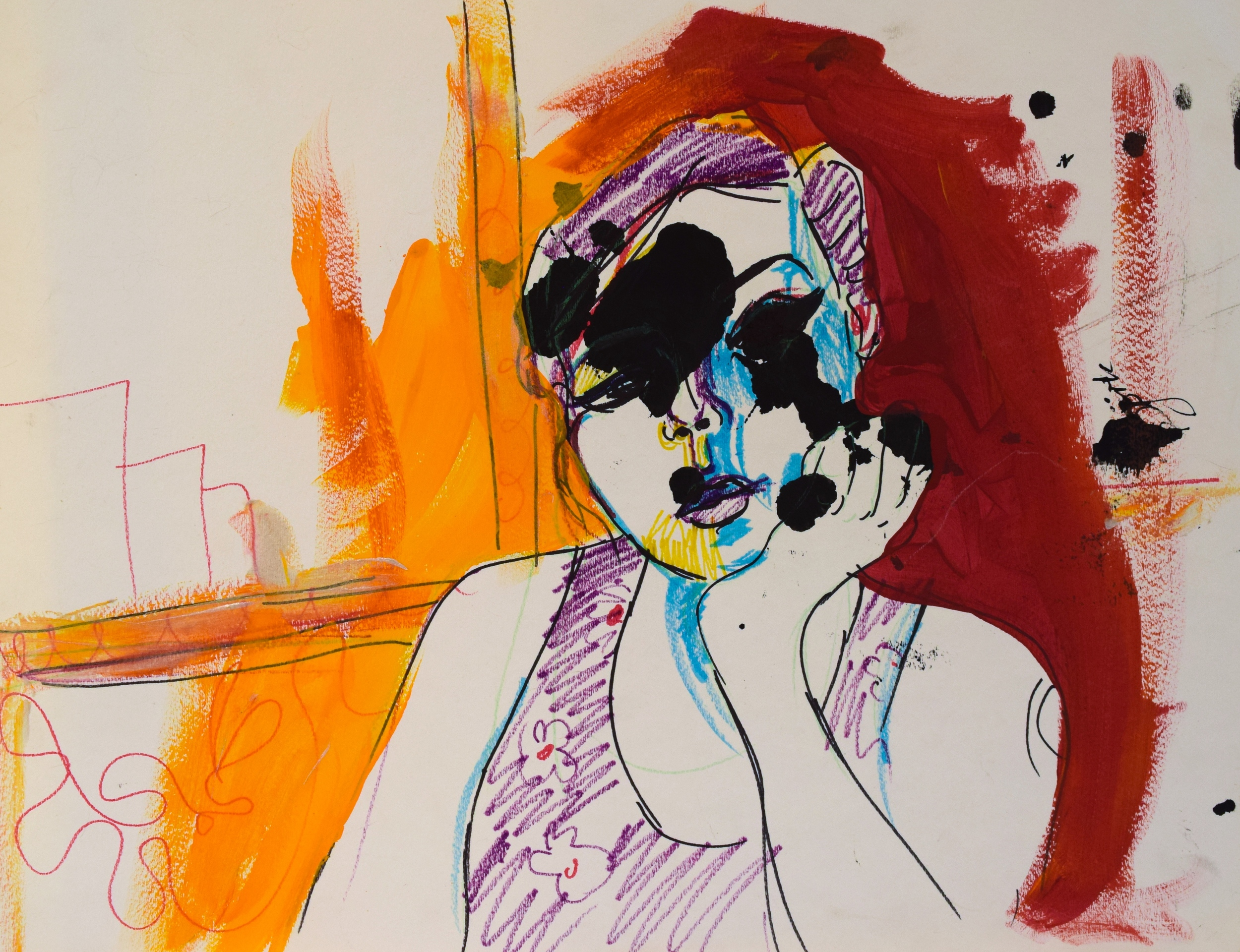 "Self-Portrait/Mixed Media on Paper/ 18x24""/ October 2014"
