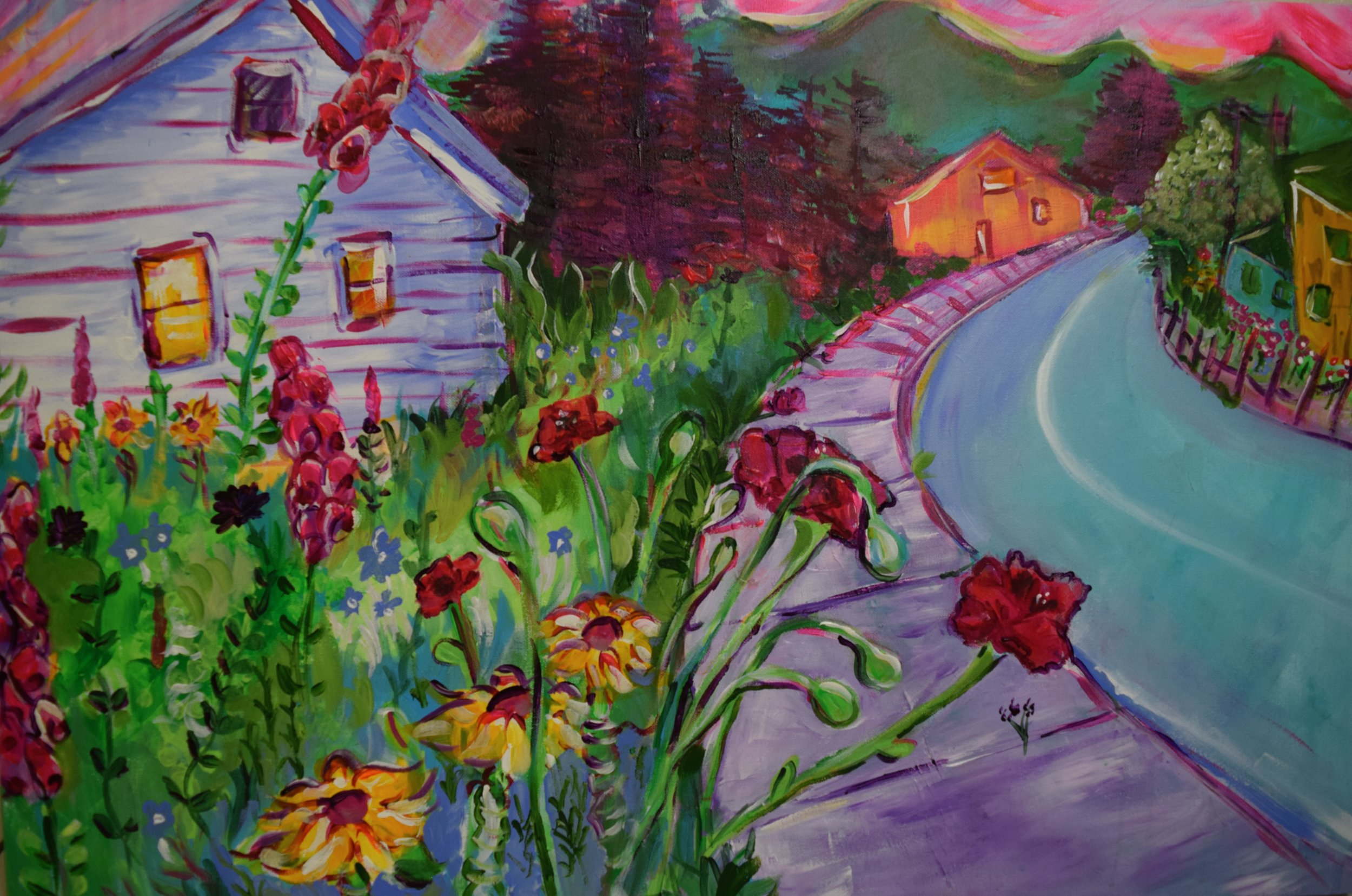 Dream Garden House Landscape, Acrylic on Canvas, 24 x 36, April 2017