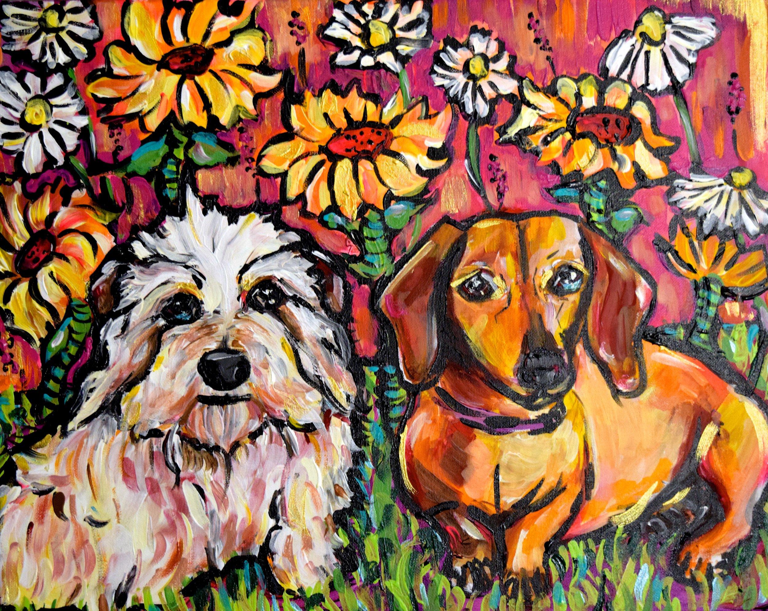"""Mickey and Daisy/ 16 x 20""""/ acrylic on canvas/ Nov 2017/ Sold"""