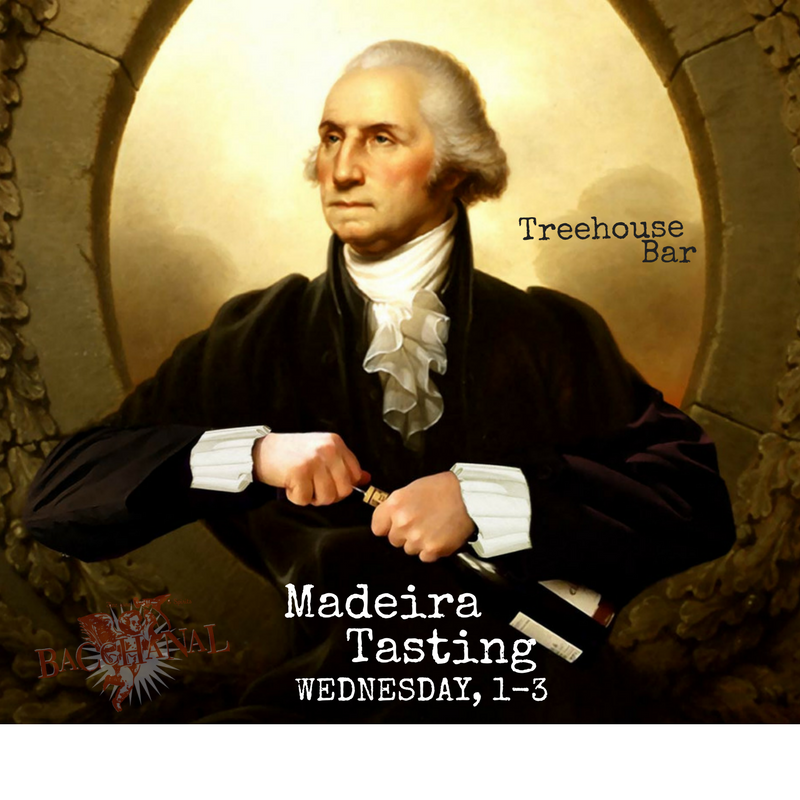 Discover what the Founding Fathers couldn't resist when signing the Declaration of Independence: Madeira.  A wine that gained notoriety in the 1600s as it journeyed from Portugal to India and back (all the while, aging beautifully in the hulls of ships), Madeira can be 40+ years in the making.   WEDNESDAY, October 18th from 1-3pm  at the Treehouse Bar, join Bacchanal along with  Henriques & Henriques Madeira  and  We will pour the following: Sercial, Verdelho, Bual and Malvasia   Chef J has designed some tasty food pairing bites to go along with these lovelies. See you #WinoWednesday--we're excited to taste these rich, velvety wines with you!