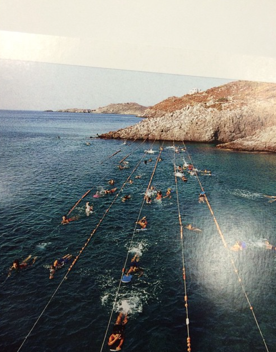 """Swimming Lanes Stretched Across the Sea for Children's Swimming Lessons"" Kythera, Greece    Kristina Williamson"