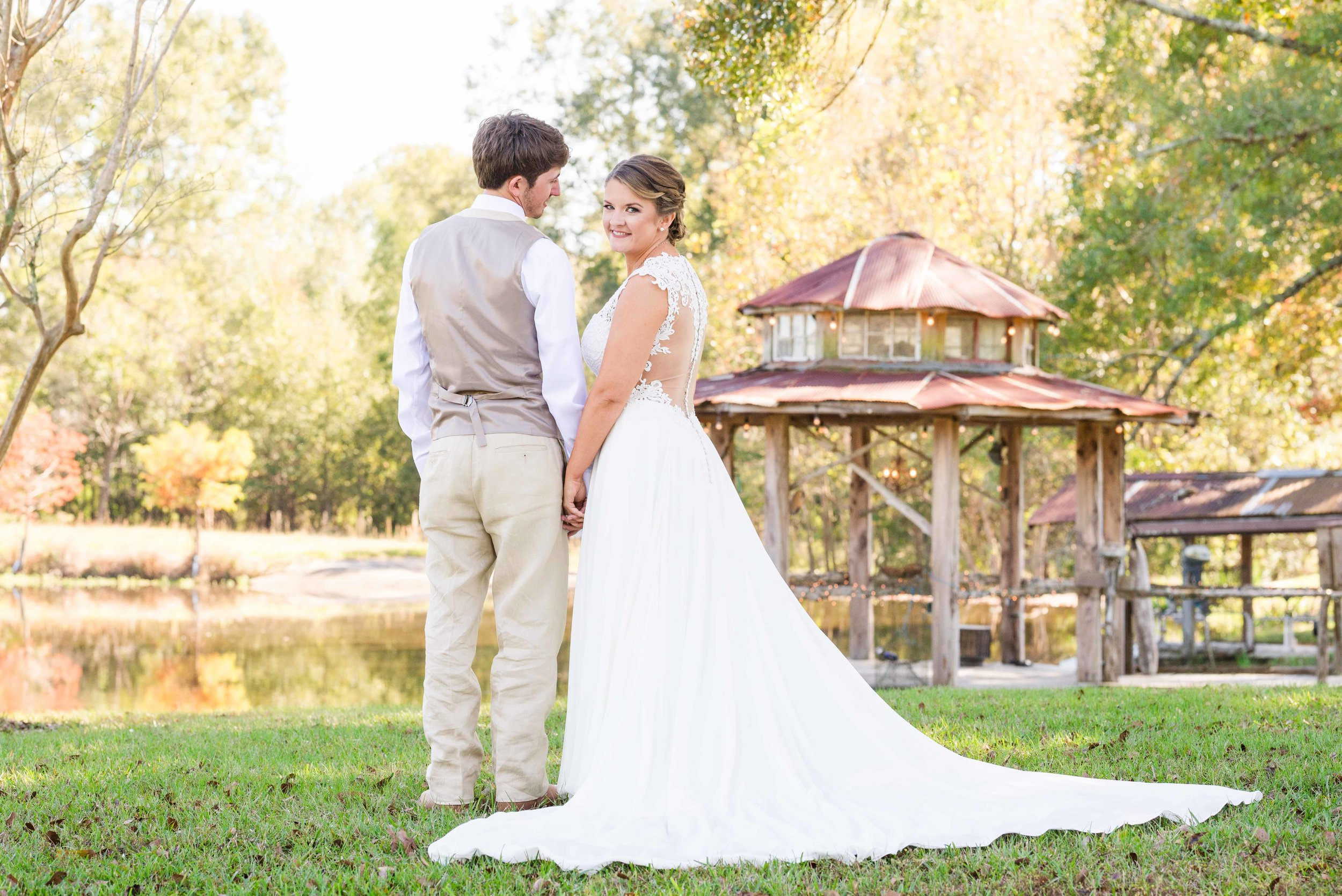 Jordan and Callie November Wedding Day The Lake at Oakhill Louisiana