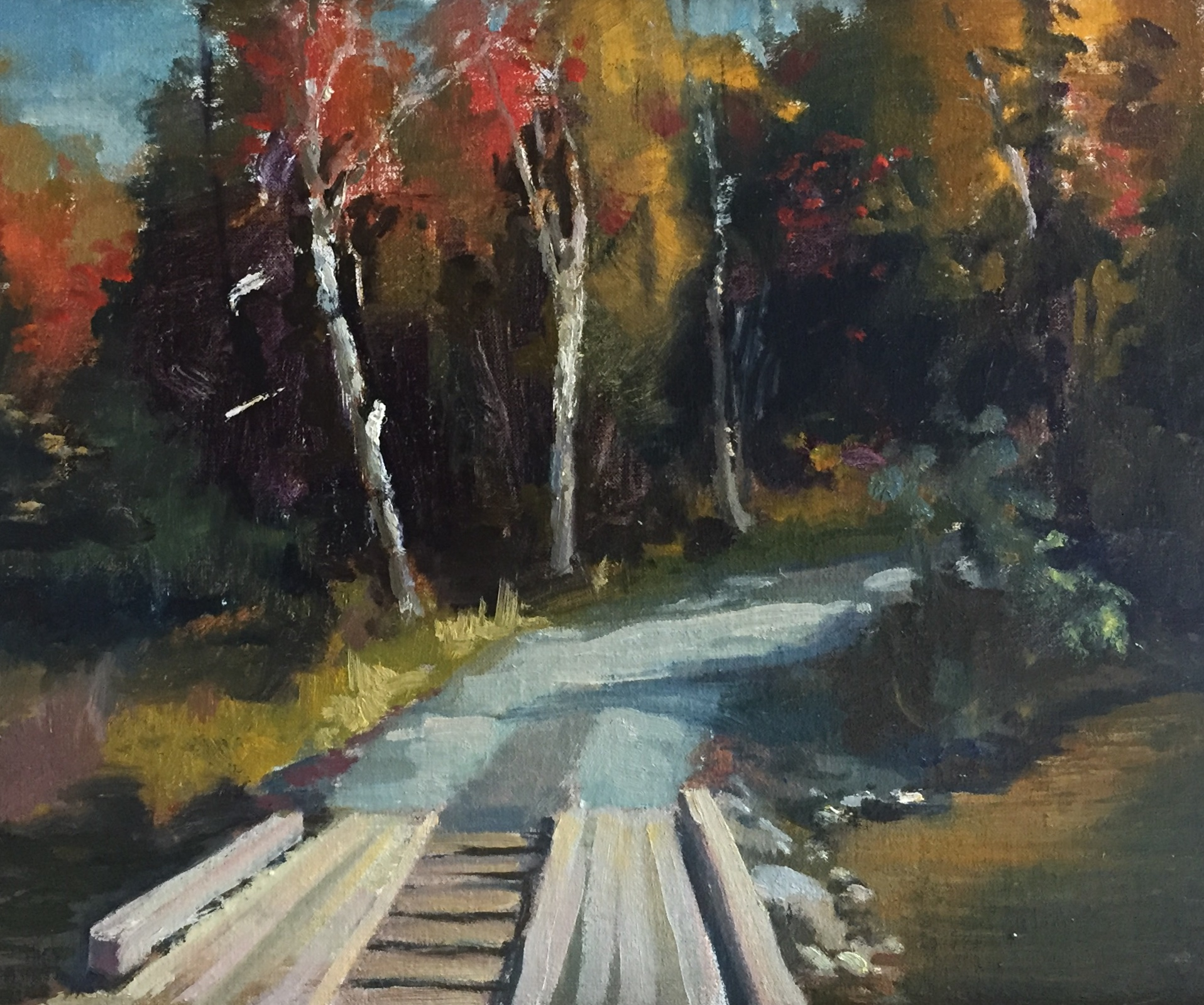 Bridge in Sandy River<br>Oil on Canvas