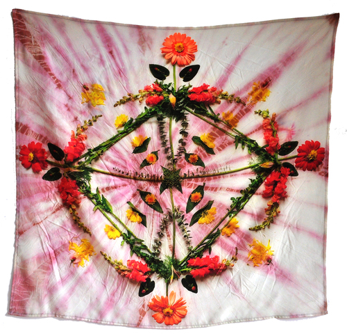 "$225.00  Hibiscus flower dyed 100% crepe de chine silk.  28"" x 28""   -   Ready-to-hang loops on back."