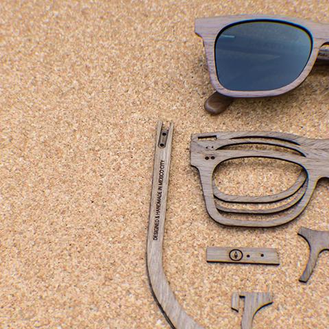 lentes de sol hecho a mano en mexico por la marca independiente cardinal.   imagen,cardinal