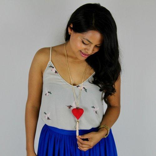 Collar corazón tejido en crochet