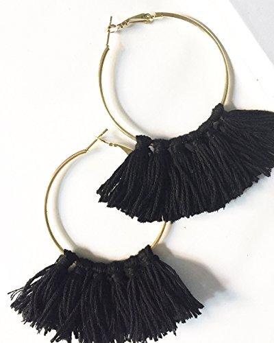 Aretes Hilo Negro - $170 pesos