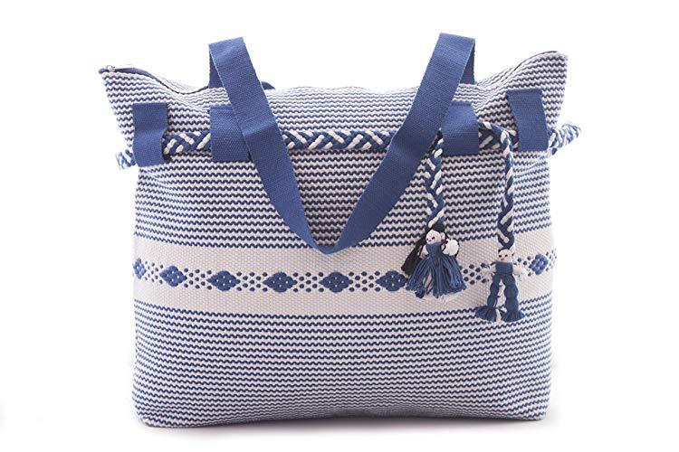 Bolsa Bordada en Telar de Cintura Azul con Blanco - MXN $650.00