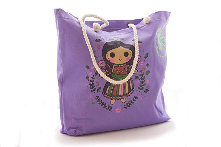 Bolsa de Playa Lila Diseño Muñequita Mexicana - MXN $180.00
