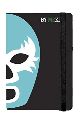Libreta Rayada Máscara de Luchador Turquesa y Amarillo - MXN $289.00