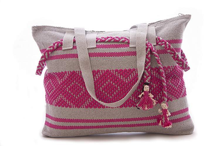 Bolsa bordada en telar de cintura Rosa con Gris - MXN $650.00