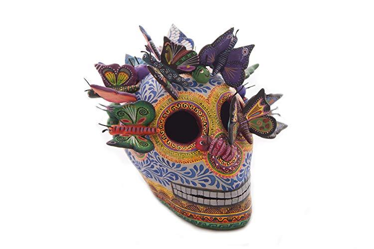 Cráneo con Mariposas Azul, Barro Policromado - MXN $2250.00