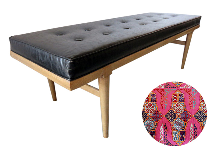 Reupholster a mid century modern bench San Francisco Bay Area and Los Angeles