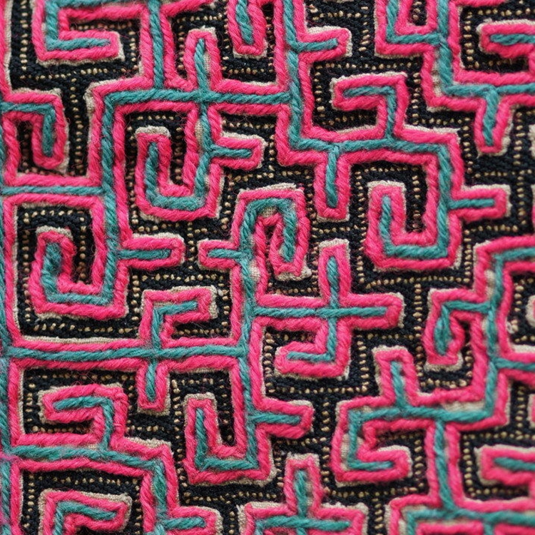 Ethnic Hmong Miao embroidered upholstery fabric