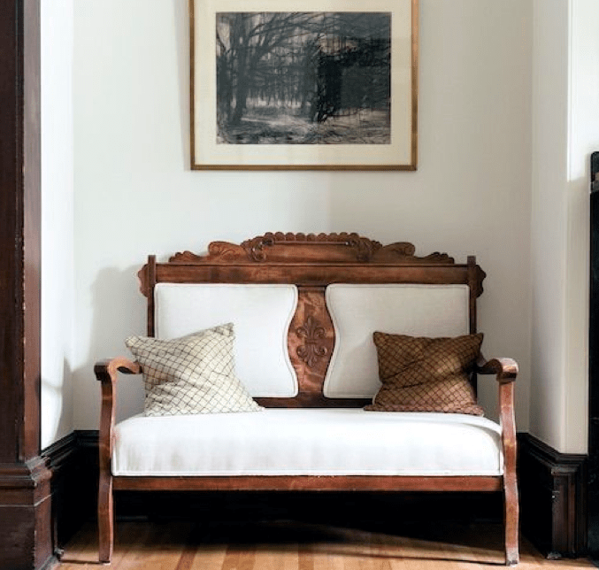 Antique settee reupholstered in white fabric San Francisco Bay Area and Los Angeles