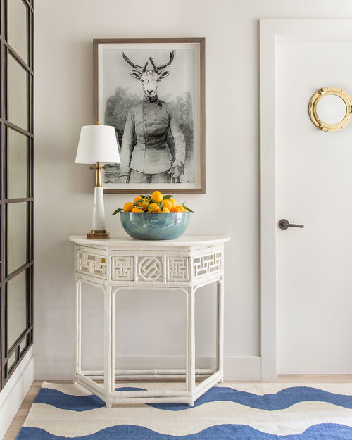 Vintage chinoiserie console table lacquered white | Benjamin Dhong Design San Francisco