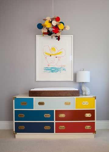 Lacquered color block dresser