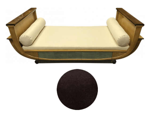 French art deco day bed to be reupholstered in Caroline Down Fuzzy Wuzzy fabric