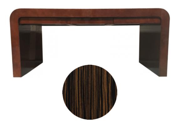 Karl Springer waterfall desk to refinish with macassar ebony