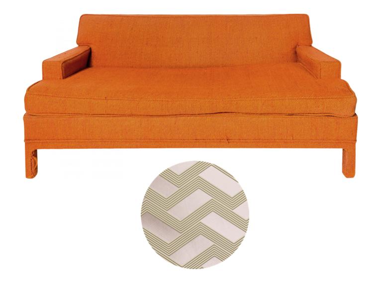 Harvey Probber love seat to upholster in Dedar Funky Stripe fabric