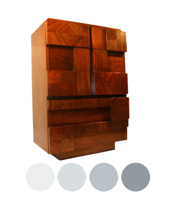 Lane Brutaliste dresser to lacquer in color blocked shades of grey